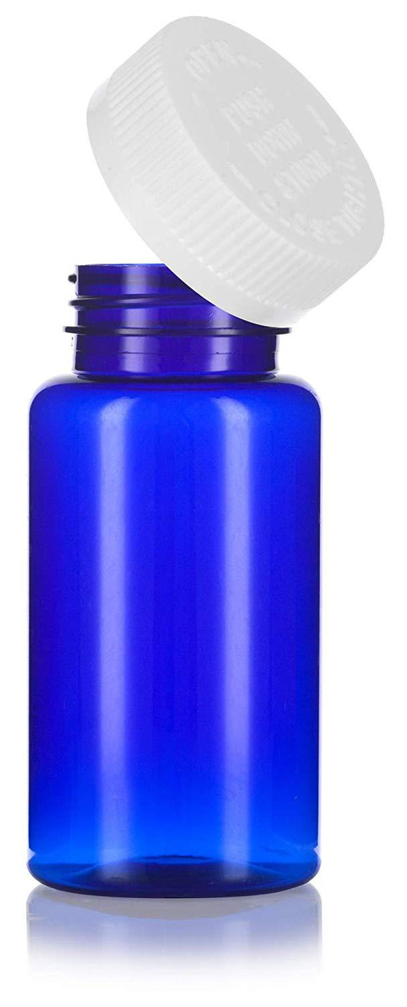 Plastic Wide Mouth Packer Bottle in Cobalt Blue with Child Resistant White Push and Turn Lid - 5 oz / 150 ml
