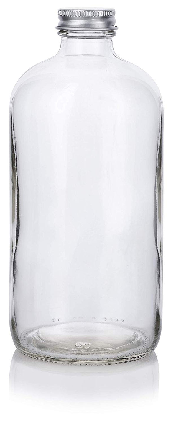 Clear Glass Boston Round Bottle with Silver Metal Screw Cap - 16 oz / 480 ml