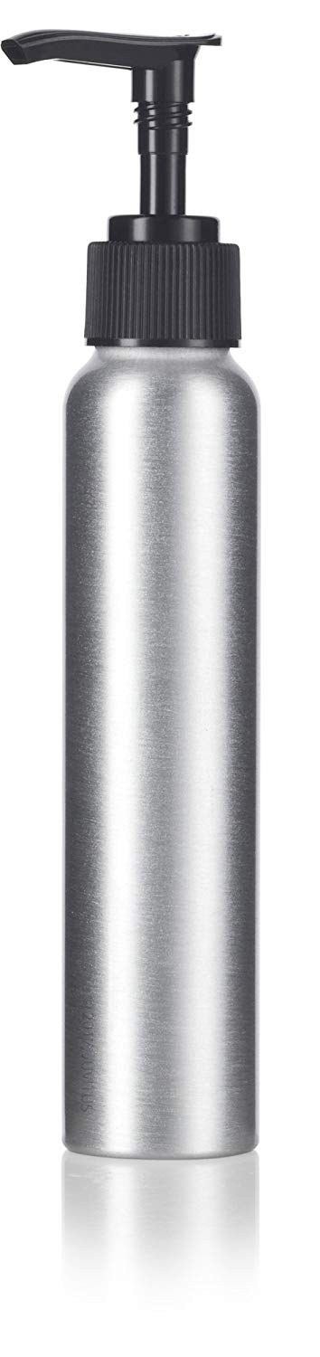 Metal Aluminum Bottle in Silver with Black Lotion Pump - 4 oz / 120 ml