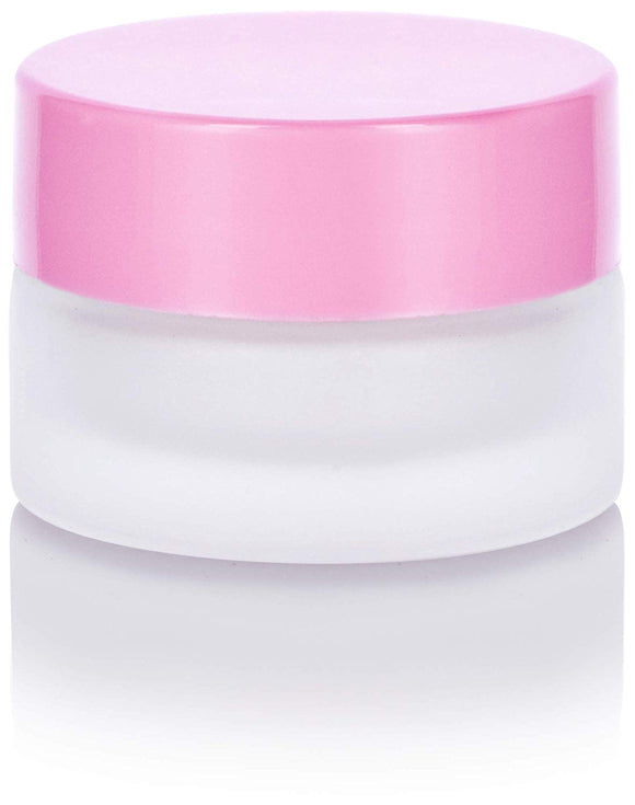 Glass Balm Jar in Frosted Clear with Pink Foam Lined Lid -  .20 oz / 5 ml