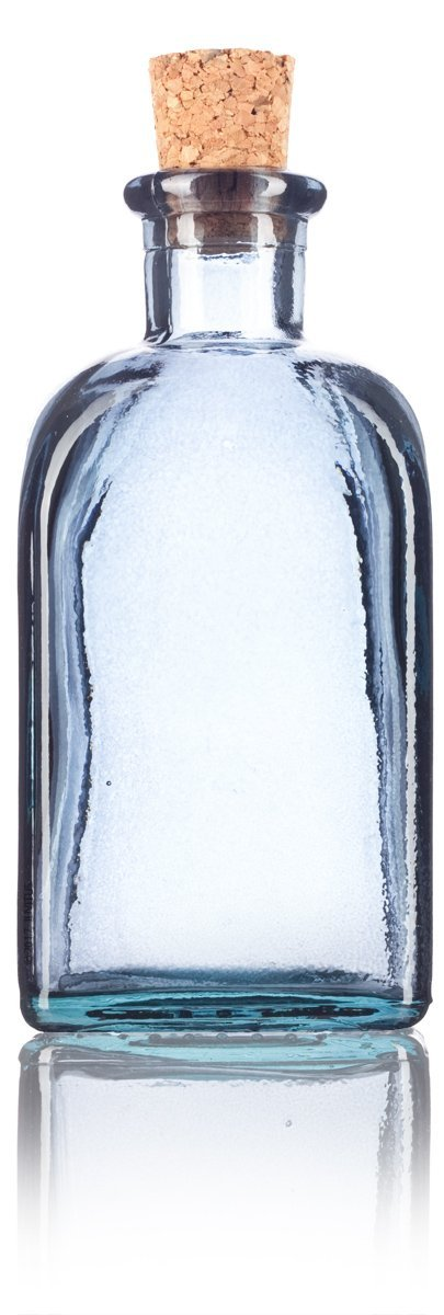 Slate Gray Spanish Thick Recycled Glass Bottle with Natural Cork Top - 8 oz / 250 ml