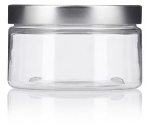 Plastic Low Profile Jar in Clear with Silver Metal Foam Lined Lid - 4 oz / 120 ml