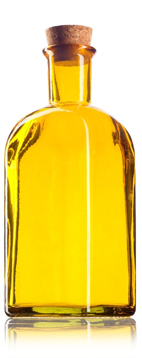 Yellow Glass Spanish Bottle with Natural Cork Top - 8 oz / 250 ml