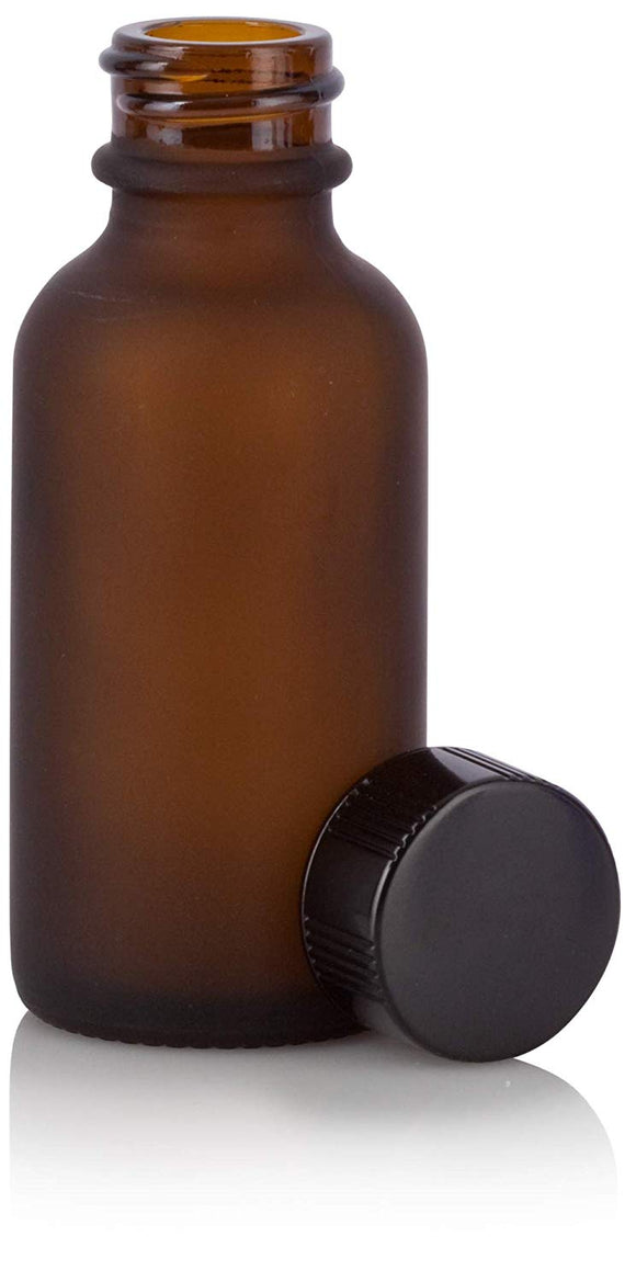 Frosted Amber Glass Boston Round Bottle with Black Phenolic Cap - 1 oz / 30 ml