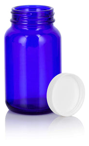 Cobalt Blue Glass Packer Bottle with White Ribbed Lid - 5 oz / 150 ml