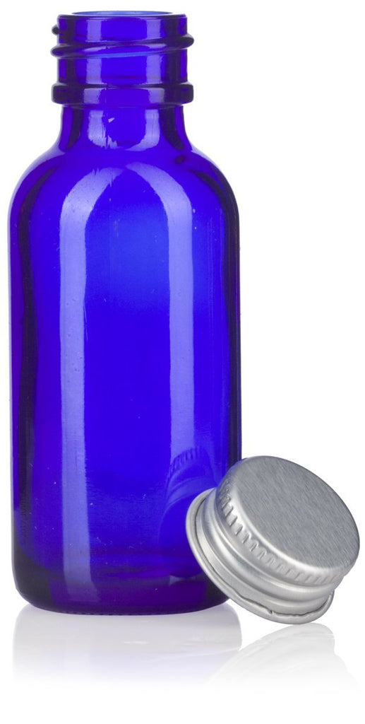 1 oz Cobalt Blue Glass Boston Round Bottles with Silver Metal Screw On Caps + Funnel and Labels