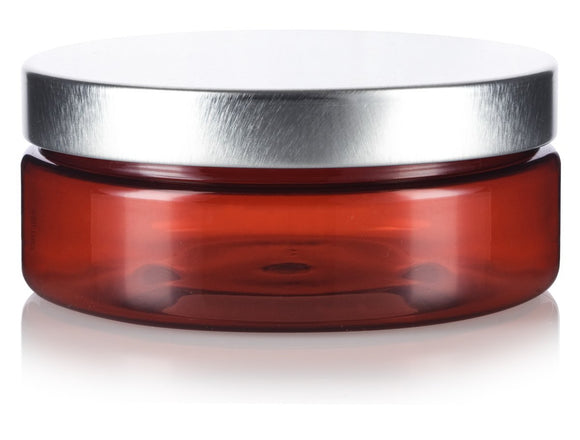 Plastic Extra Low Profile Jar in Amber with Silver Metal Foam Lined Lid - 4 oz / 120 ml