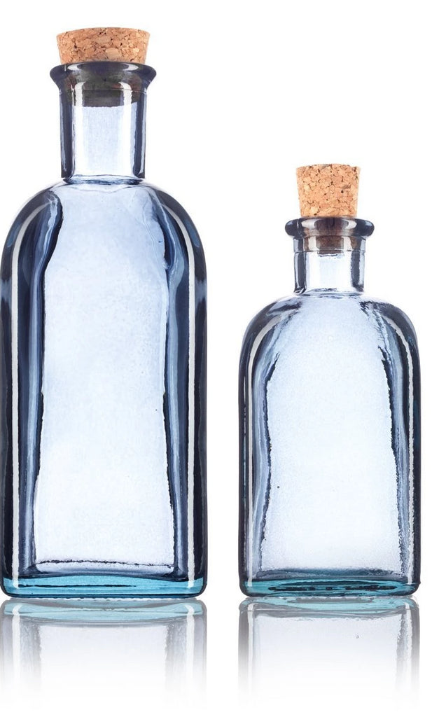 Slate Gray Spanish Thick Recycled Glass Bottle with Natural Cork Top Set - 2 Pack - 8 oz and 17 oz + Labels