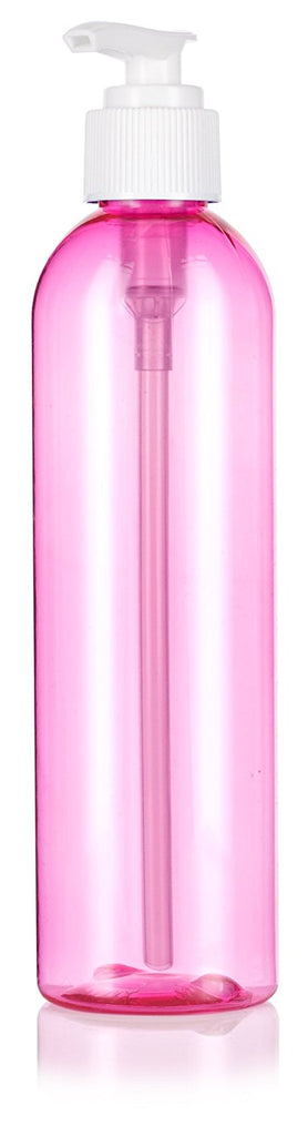 Pink 8 oz / 240 ml Slim Cosmo Round PET (BPA Free) Plastic Bottle with White Lotion Pump + Labels
