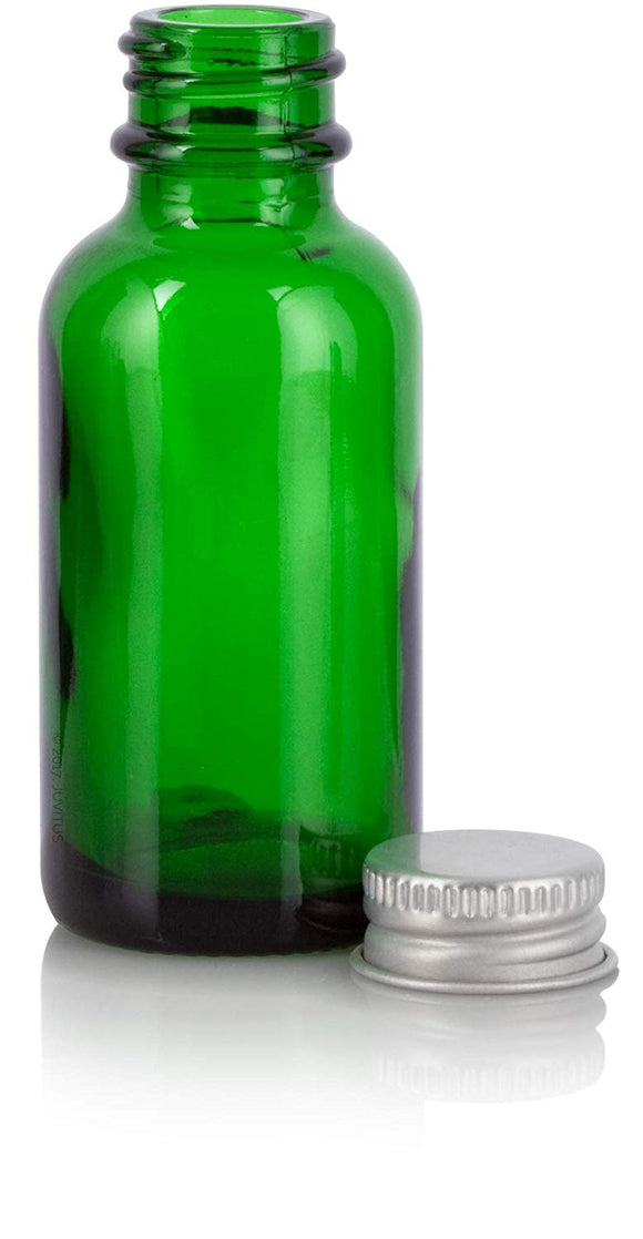 Green Glass Boston Round Screw Bottle with Silver Metal Cap - 1 oz / 30 ml