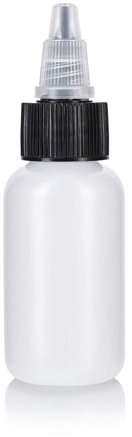 Natural Clear Plastic Squeeze LDPE Bottle with Black Twist Top Spout - 1 oz / 30 ml