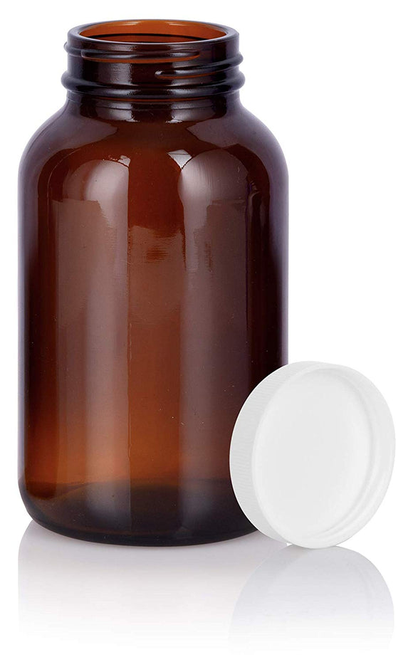 Amber Glass Packer Bottle with White Ribbed Lid - 8 oz / 250 ml