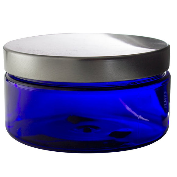 Plastic Low Profile Jar in Cobalt Blue with Silver Metal Foam Lined Lid - 8 oz / 240 ml