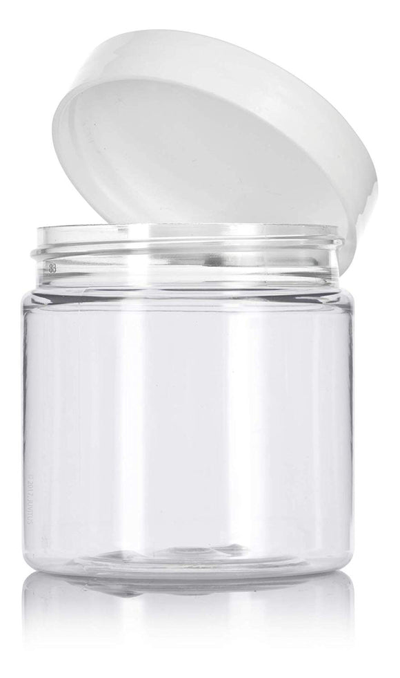 Plastic Jar in Clear with White Foam Lined Lid - 4 oz / 120 ml - JUVITUS