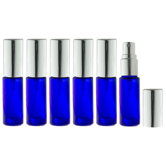 Aromatherapy Small Glass Spray Bottles, 5 ml (1/6 oz) Cobalt Blue Glass - Set of 6 for perfume, essential oils, travel + Travel Bag