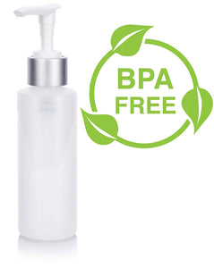 Natural Clear Plastic Squeeze Bottle with Silver Lotion Pump - 4 oz / 120 ml