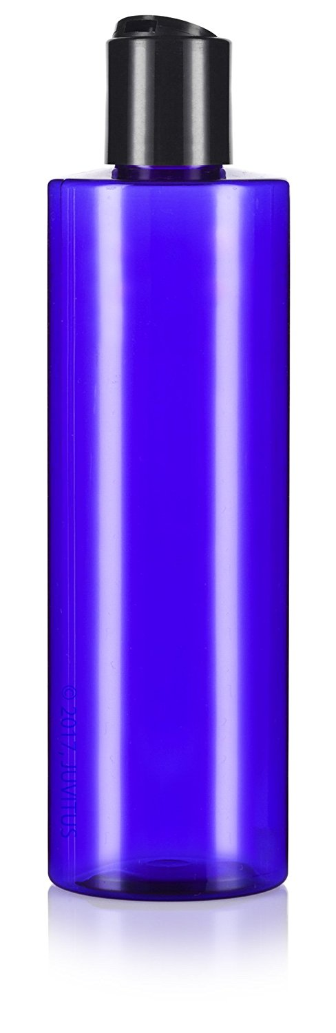 Cobalt Blue Plastic Professional Cylinder Bottle with Black Disc Cap - 8 oz / 250 ml