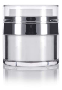 Refillable Airless Jar in White and Silver - .5 oz / 15 ml