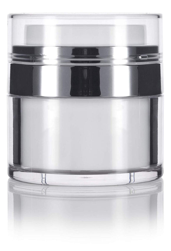 Airless Refillable Jar in White and Silver - .5 oz / 15 ml