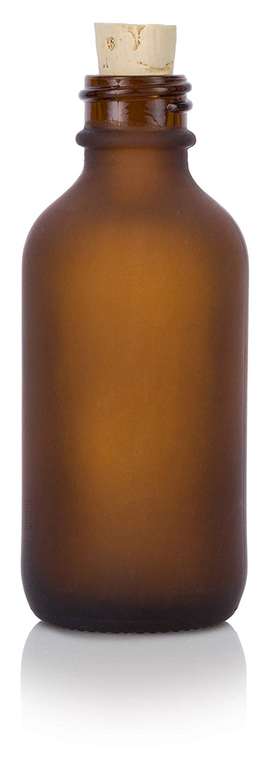 Frosted Amber Glass Boston Round Cork Bottle with Natural Stopper - 2 oz / 60 ml