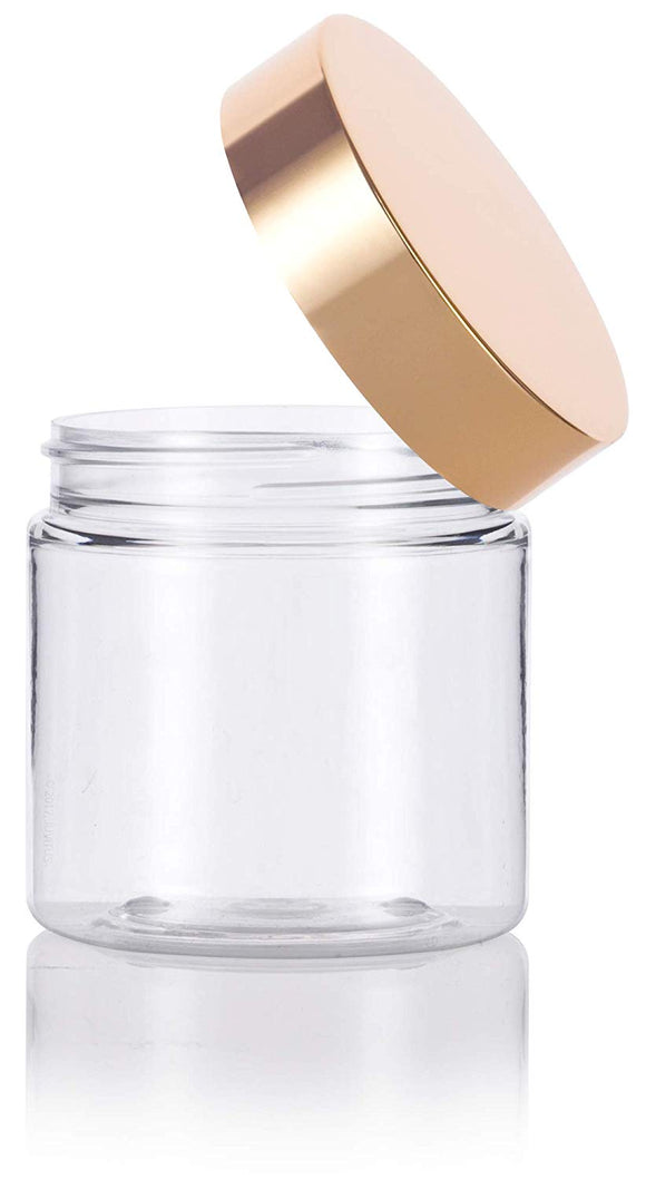 Plastic Jar in Clear with Gold Metal Overshell Lid - 4 oz / 120 ml