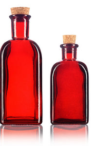 Glass Spanish Bottle in Red with Natural Cork Top - 8 oz / 250 ml and 17 oz / 500 ml