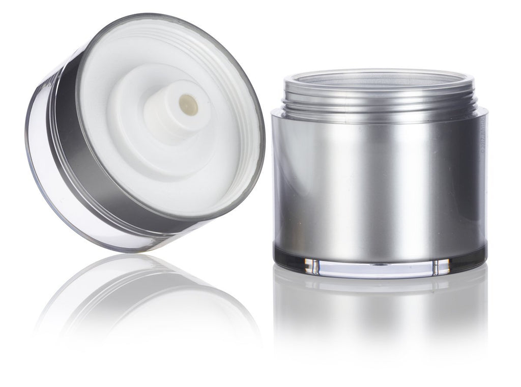 Platinum Silver Airless Refillable Jar 1.7 oz / 50 ml for Home or Travel, keeps out bacteria and air changing oxidation from your skin care products - durable, leak proof, and shatterproof