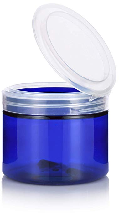 Plastic Low Profile Jar in Cobalt Blue with Natural Clear Flip Top Cap - 6 oz / 180 ml