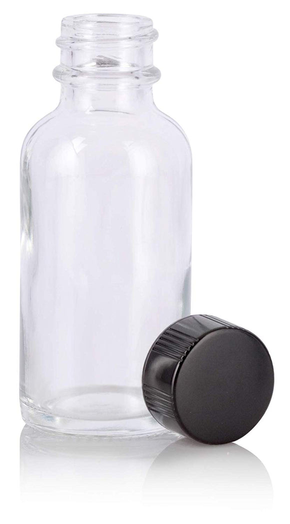 Glass Boston Round Bottle in Clear with Black Phenolic Cap - 1 oz / 30 ml