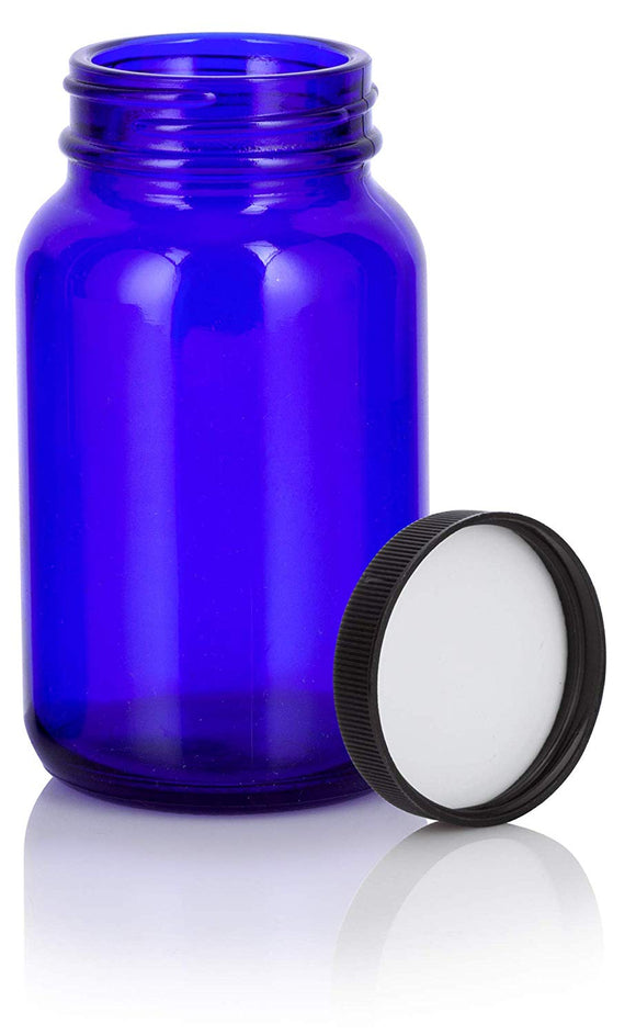 Cobalt Blue Glass Packer Bottle with Black Ribbed Lid - 5 oz / 150 ml