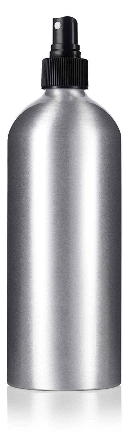 Metal Aluminum Bottle in Silver with Black Fine Mist Spray - 16 oz / 500 ml