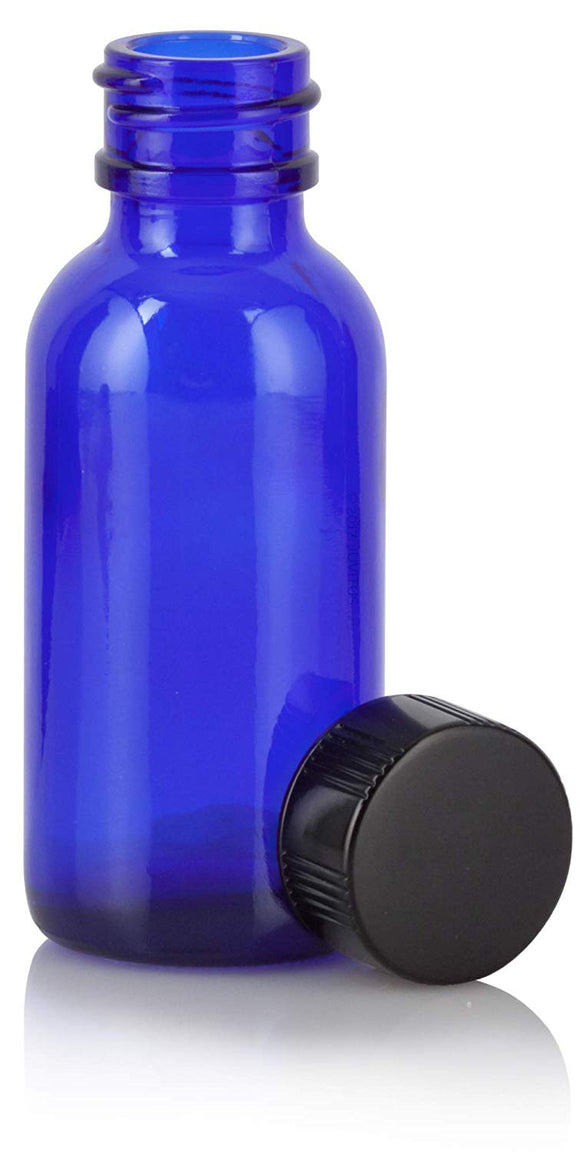 Cobalt Blue Glass Boston Round Bottle with Black Phenolic Cap - 1 oz / 30 ml