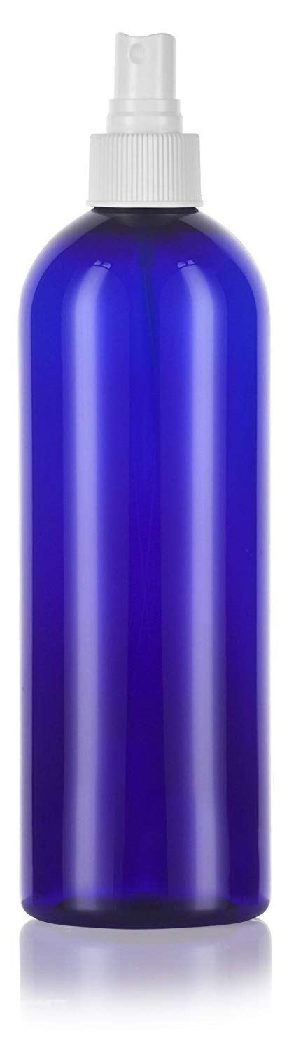 Cobalt Blue Plastic Slim Cosmo Bottle with White Fine Mist Spray - 16 oz / 500 ml