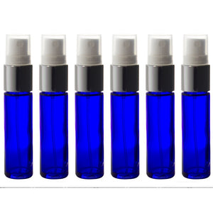 Cobalt Blue Glass Perfume Bottle with Silver Fine Mist Spray - .33 oz / 10 ml 6 pack