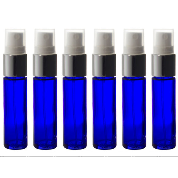 Aromatherapy Glass Spray Bottles, 10ml (1/3oz) Cobalt Blue Glass - Set of 6 for perfume, essential oils, travel
