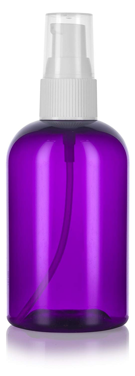 Plastic Boston Round Bottle in Purple with White Treatment Pump - 4 oz / 120 ml