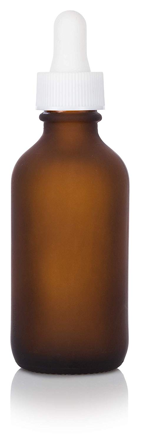 Frosted Amber Glass Boston Round Dropper Bottle with White Top - 2 oz / 60 ml