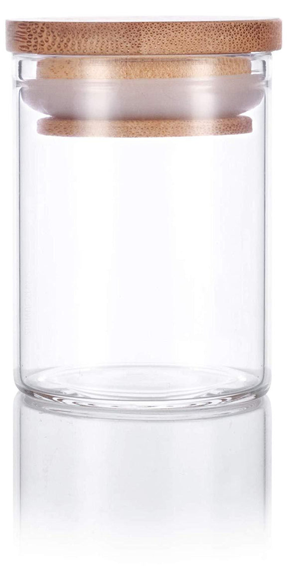 Glass Borosilicate Jar in Clear with Bamboo Silicone Sealed Lid - 2 oz / 60 ml