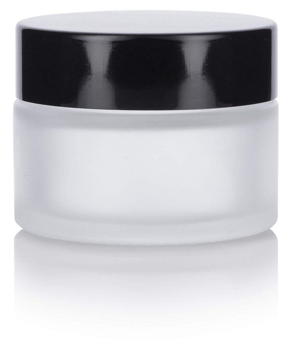 Glass Balm Jar in Frosted Clear with Black Foam Lined Lid - 1 oz / 30 ml