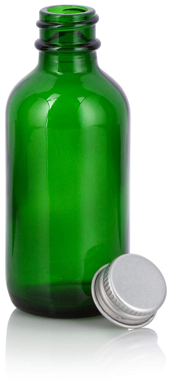 Green Glass Boston Round Screw Bottle with Silver Metal Cap - 2 oz / 60 ml
