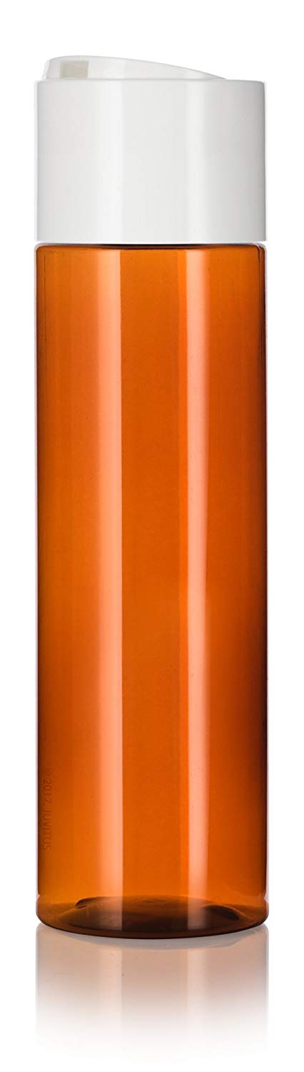 Amber Plastic Professional Cylinder Bottle with Wide White Disc Cap - 8 oz / 250 ml