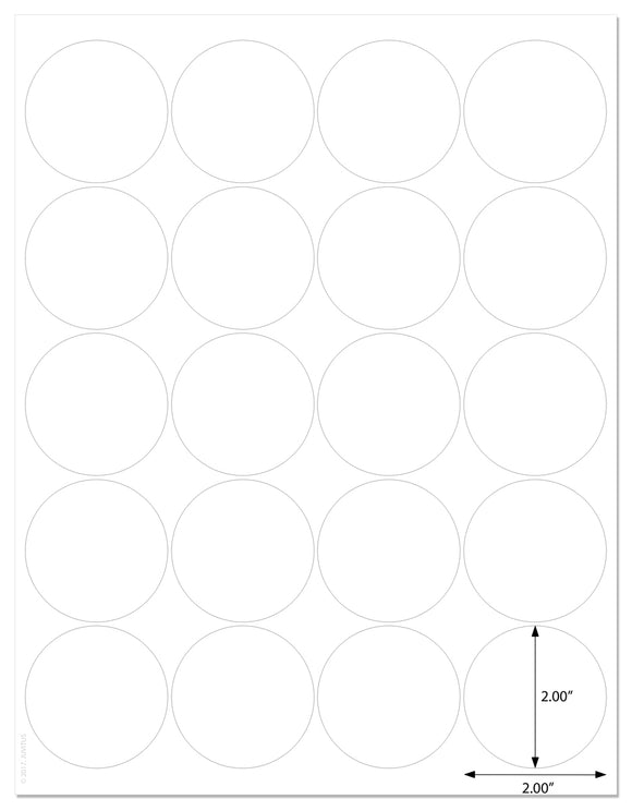 Standard White Matte Round Labels, 2 Inch Diameter, with Downloadable Template and Printing Instructions, 10 Sheets, 200 Labels (XR2)