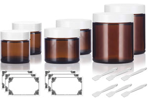 6 piece Amber Glass Straight Sided Jar Multi Size Set : Includes 2-1 oz, 2-2 oz, and 2-4 oz Amber Glass Jars with White Lids + Spatulas and Labels for Aromatherapy, Essential Oils, Travel and Home