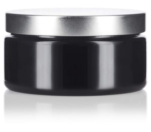 Plastic Low Profile Jar in Black with Silver Metal Foam Lined Lid - 8 oz / 240 ml