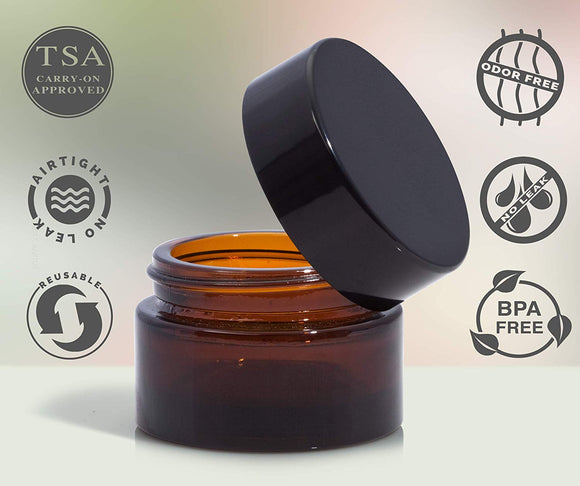 0.50 oz / 15 ml - Amber Glass Heavy Base Thick Wall Balm Jars with Smooth Black Lid