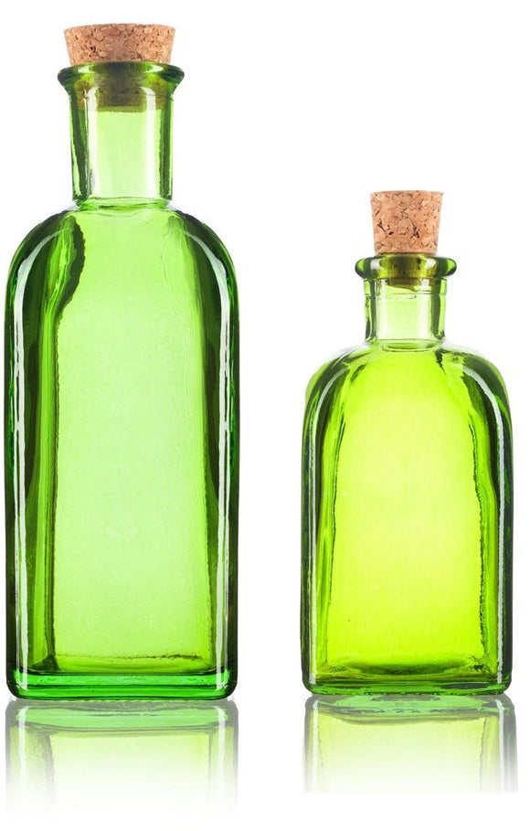 Green Spanish Thick Recycled Glass Bottle with Natural Cork Top Set - 2 Pack - 8 oz and 17 oz + Labels