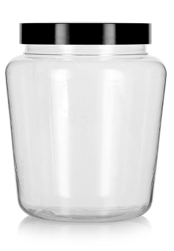 Plastic Tapered Jar in Clear with Black Foam Lined Lid - 32 oz / 950 ml