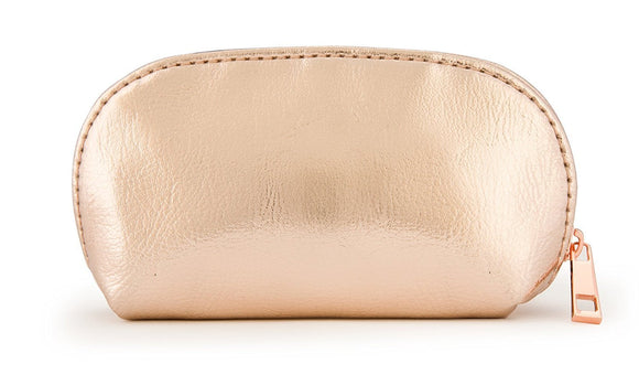 Small Rose Gold Metallic Pouch Bag For Cosmetics, Makeup, Coins, and Organization - Made of Premium Faux Leather (JB60)