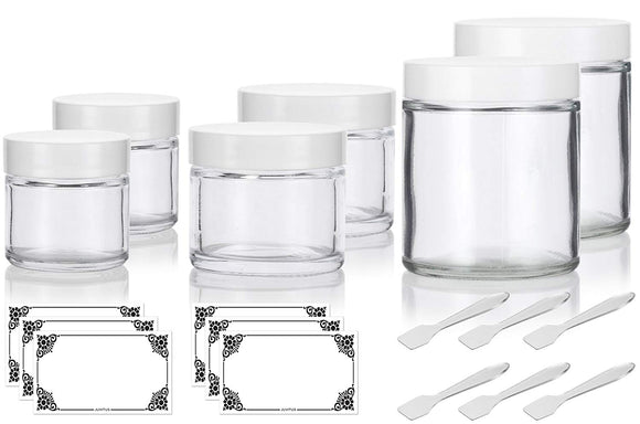 6 piece Clear Glass Straight Sided Jar Multi Size Set : Includes 2-1 oz, 2-2 oz, and 2-4 oz Clear Glass Jars with White Lids + Spatulas and Labels for Aromatherapy, Essential Oils, Travel and Home