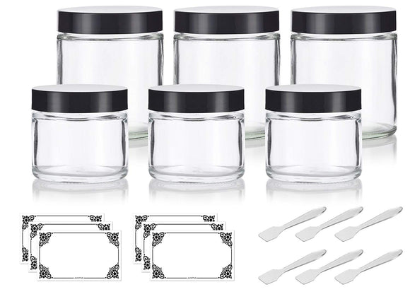 Clear Thick Glass Straight Sided Jar Set (6 Pack) 3-2 oz / 60 ml and 3-4 oz/ 120 ml + Spatulas and Labels